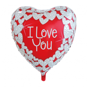 "XL Foilballoon heartshape, 36""- I love you red/white"