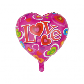 "Foilballoon heartshape, 18""- Love pink"
