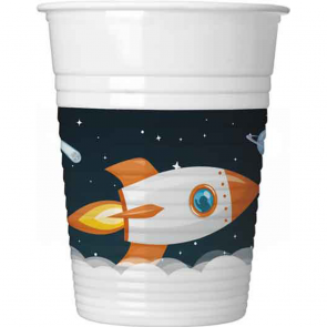 8 Plastic cups 200ml - Outer Space