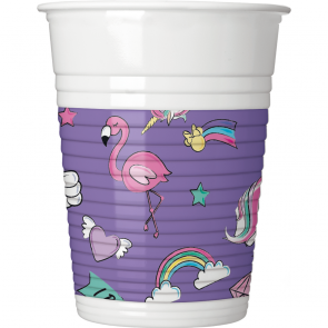 8 Plastic cups 200ml - Minnie Unicorn