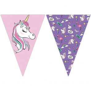 1 Triangle Flag Banner ( 9 flags ) - Minnie Unicorn