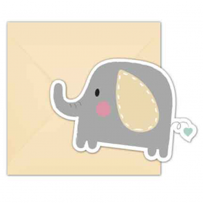 6 Invitations & Envelopes - Elephant Baby