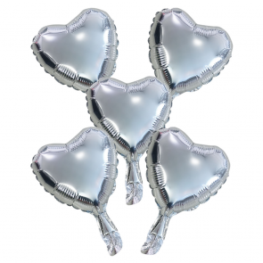 """5 Foilballoons heart, paper straw, 9"""" - silver"""