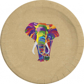 8 Compostable Paper Plates Large 23cm - Elephant