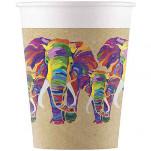 8 Compostable Paper cups 200ml - Elephant