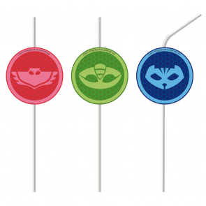 4 Medallion Paper Drinking Straws - PJ Masks