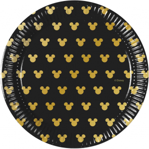 8 Paper Plates 20cm - Mickey Gold