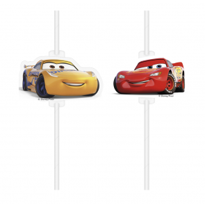 4 Medallion Paper Drinking Straws  -  Cars 3