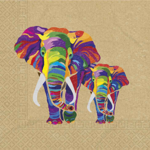 20 Two-Ply Paper Napkins 33x33cm - Elephant