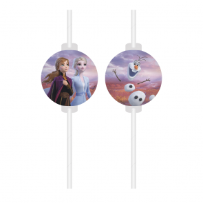4 Medallion Paper Drinking Straws - Frozen 2