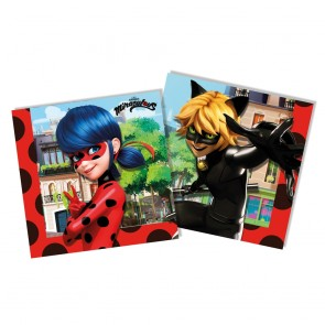 20 Two-Ply Paper Napkins 33x33cm - Miraculous Ladybug