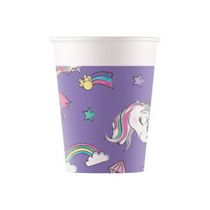 8 Paper cups 200ml - Minnie Unicorn
