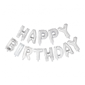 "Foilballoons 16"" set 'Happy Birthday' silver"