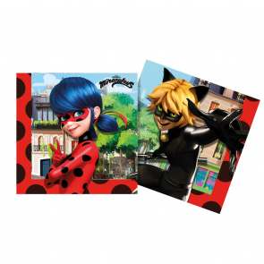 20 Three-Ply Paper Napkins 33x33cm - Miraculous Ladybug - Compostable