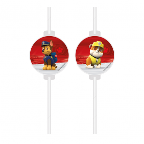 4 Medallion Paper Drinking Straws - Paw Patrol Ready For Action FSC