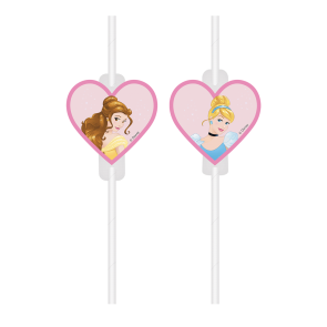 4 Medallion Paper Drinking Straws - Disney Princess FSC