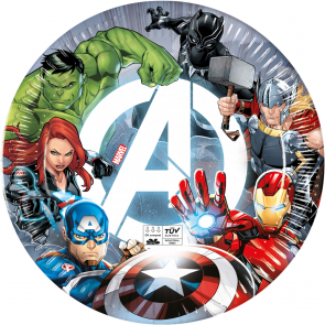 8 Paper Plates 23cm - Avengers Fight - Compostable FSC