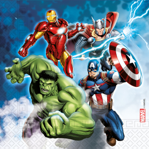 20 Three-Ply Paper Napkins 33x33cm - Avengers Fight - Compostable