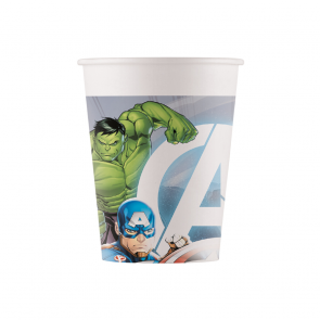 8 Paper cups 200ml - Avengers Fight - Compostable FSC