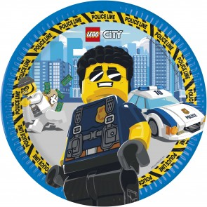 8 Paper Plates 23cm - without plastic lamination - Lego City FSC