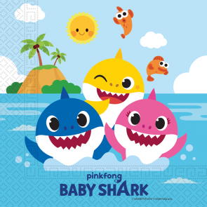 20 Two-Ply Paper Napkins 33x33cm - Baby Shark - FSC