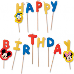 "Happy Birthday"" Toothpick Candles  - Playful Mickey"""