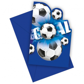 6 Die-Cut Invitations & Envelopes - Football