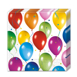 20 Two-ply Paper Napkins 33x33cm - Balloons Fiesta